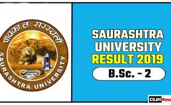 Saurashtra University BSc 2nd Year Result 2019