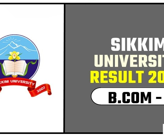 Sikkim University BCOM 3rd Year Result 2019