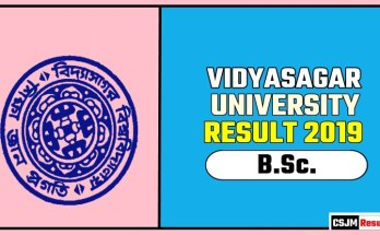 Vidyasagar University BSc 1st 2nd 3rd Year Result 2019