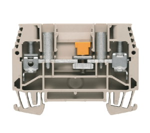 Test-disconnect terminal, Screw connection, 6 mm², 630 V, 41 A, sliding, Cross-disconnect: without, Integral test socket: Yes, TS 35, dark beige