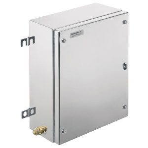 Ex metal housing, 260 x 350 x 200 mm, electropolished, Flange plate: Yes, Bottom, 4 hinges and M6 hex-head slotted screws SW10