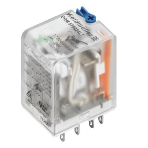 Miniature industrial relay, 24 V DC, Green LED, 4 CO contact with test button (AgNi 5µm Au) , 250 V AC, 5 A