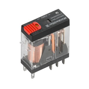 Miniature industrial relay, 115 V AC, red LED, 2 CO contact with test button (AgNi) , 250 V AC, 5 A