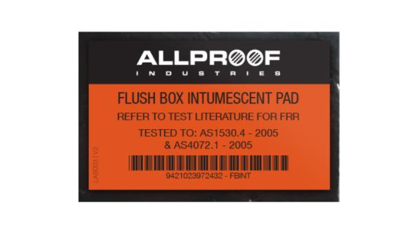 FLUSH BOX INTUMESCENT PAD, SINGLE