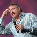 Auditorium Speaker James Van Praagh does his thing.