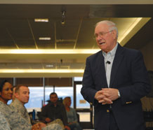 (U.S. Air Force photo/Staff Sgt. Stacy Foster) Retired Chief Master Sgt. Sam Parish, the eighth chief master sergeant of the Air Force speaks to an audience in the High Plains Cafeteria here Feb. 11. The topic of the speech was followership, this month's Year of Leadership topic.