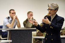 Robyn Kane, certified cost estimator/anallyst of the MITRE Corporation, explains to cadets what will be expected to execute in their new roles as acquisition leaders after graduation.