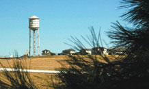 (U.S. Air Force photo/Scott Prater) The new water tower at Schriever will serve as a reserve water supply for the on-base housing area. The all-steel tower should be operational by the end of April and will be illuminated at night.