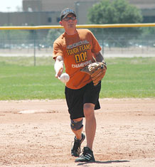 4th Space Operations Squadron pitcher Rusty Mardis delivers a pitch during 4th SOPS' 24-1 victory over National Reconnaissance Operations Squadron. 4th SOPS kept its perfect record intact and handed NOPS its first Schriever intramural softball loss of the season.