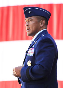 Brig. Gen. Cary Chun, 50th Space Wing commander, addresses the audience during his promotion ceremony July 16. General Chun spoke about the importance of family and patriotism to a crowd of more than 200 fellow servicemembers, family and friends. General Robert C. Kehler, Air Force Space Command commander, presided over the ceremony.