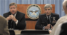 Air Force Secretary Michael Donley, left, and Gen. Norton A. Schwartz, Air Force Chief of Staff, answer questions at an Aug. 5, 2009, Pentagon news conference on the Air Force Global Strike Command activation. The new command, with headquarters at Barksdale Air Force Base, La., stands up Aug. 7, 2009. (Air Force photo by Scott M. Ash)