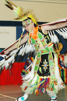 A Seven Falls Indian Dancer imitates as majestic bird during a Diversity Day performance.