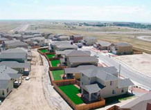 An overhead view of Schriever's first row of Company Grade Officer base housing. Junior Noncommissioned Officer homes are nearing completion and expected to be occupied by the end of October.