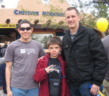 Cadet 2nd Class Carlos Sandoval, left, joins his 'little', Cory Miller, center, and his partner 'big' Cadet Jonathan Lewczyk, at the Cheyenne Mountain Zoo last year during a Big Brothers Big Sisters event. Courtesy photo
