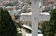 The Muslim Quarter (as seen from the Via Dolorosa) adds to Jerusalem's rich cultural mix. Photo courtesy of Jim Farber.