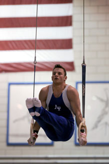 Devin Menefee set an Academy record on the vault to claim his USA Gymnastics national title.. Photo by Johnny Wilson