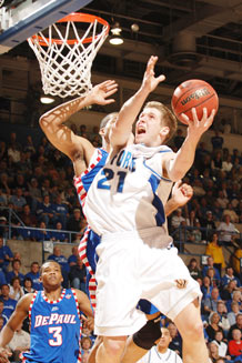 First Lt. Jacob Burtschi drives against DePaul March 21, 2007 at Clune Arena during his senior season at the USAFA. Lieutenant Burtschi will exit the Air Force this summer and plans to pursue a career as a professional baskeball player. (U.S. Air Force photo/Joel Strayer)