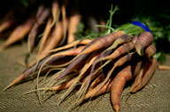 Purple Haze carrots are among the hard-to-get produce items shoppers can find at the Mercato. Photo by David Brooks