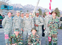 Members of the 3rd Space Operations Squadron and 50th Operations Support Squadron gather for a photo prior to the Bataan Memorial Death March Marathon March 21. (Courtesy photo)