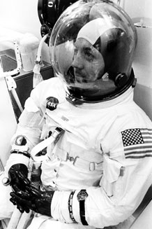 "Astronaut John L. ""Jack"" Swigert, Jr., is shown suited-up for the Apollo 13 mission. (NASA Photo)"