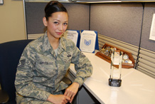 Tech. Sgt. Tiffany Smith won the Vosler NCO Academy's John Levitow Award for Class 10-3 April 8. Photo By Ann Patton