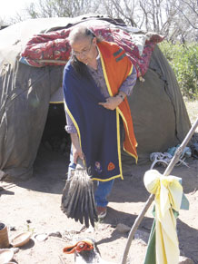 Michael Hackwith, Lakota Sundance spiritual leader and retired U.S. Marine, shows the altar area outside of the Inipi sweat lodge at Turkey Creek Ranch, 10 miles south of Fort Carson. Mr. Hackwith leads a traditional sweat lodge purification ceremony every other weekend. The purification ceremony, which lasts about two hours, is open to Native and non-Native people and meant as a place to pray for military members. Sweat lodges are part of many Native American cultures. (U.S. Air Force photo/Monica Mendoza)