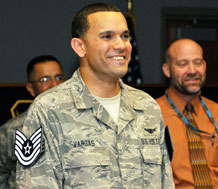 Now a technical sergeant, Teddy Vargas from the 3rd Space Experimentation Squadron was promoted through the Stripes for Exceptional Performers program Sept. 28. Sergeant Vargas thought he was giving an important motorcycle safety program brief when Gen. C. Robert Kehler, commander of Air Force Space Command, surprised him with the new stripe. (Courtesy Photo)