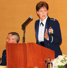 Col. Karen Rizzuti,10th Air Force vice commander, speaks to an audience of current and past members of the 19th Space Operations Squadron during their 10th anniversary celebration Feb. 4 at the Cheyenne Mountain Resort in Colorado Springs, Colo. Colonel Rizzuti was the first 19 SOPS commander, as well as the first commander of the 310th Space Wing. (Photo courtesy of the United States Air Force Reserve)