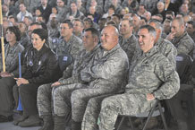 Col. Stephen N. Whiting, 21st Space Wing commander (far right) along with, Col. Jim Jennings, 21st SW vice commander; Col. James Miller, 21st SW individual mobilized augmentee to the commander; Col. Nina Armagno, 21st Operations Group commander; and Col. Kimerlee Conner, 21st Mission Support Group commander, react to comments from Headquarters Air Force Space Command Inspector General Col. Scott Gilson, who congratulated the Wing on its significant improvement from its last inspection. In the Operation Readiness Inspection portion, the wing received seven 'Excellent' ratings compared to 2009 when it received one. (U.S. Air Force photo/Rob Bussard)