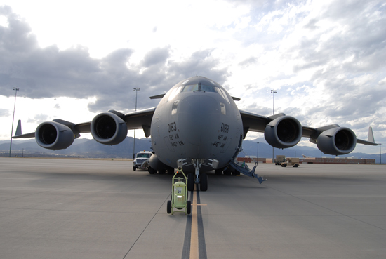 (U.S. Air Force photo/Michael Golembesky) COLORADO SPRINGS, Colo. – A C-17 from McChord AFB, Wash., sits on the Fort Carson Arrival/Departure Airfield Control Group tarmac Oct. 9 before being loaded with troops and equipment for deployment overseas.