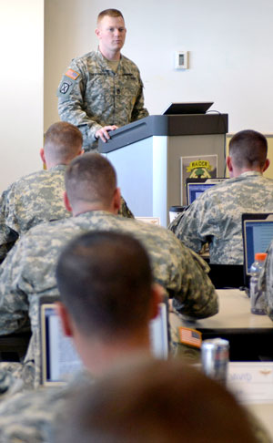 Sgt. 1st Class John Chervinski, small group leader, mobile training team, Noncommissioned Officer Academy, Fort Eustis, Va., teaches aviation Soldiers from 4th Combat Aviation Brigade, 4th Infantry Division, and 1st Battalion, 25th Aviation Regiment, 25th Infantry Division, who are attending the Advanced Leader Course on Fort Carson, Feb. 25.