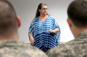Darcy Etaugh, victim advocate, Sexual Harassment/Assault Response and Prevention, conducts quarterly training for Soldiers with 1st Armored Brigade Combat Team, 4th Infantry Division, Feb. 13.