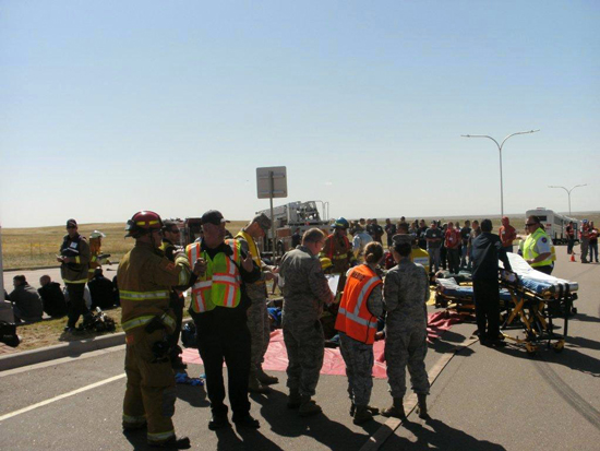 (Courtesy photo/ Mark Captain)  Emergency responders from the Colorado Springs area participated in a mass casualty exercise involving a simulated aircraft crash on May 8, 2014, in Colorado Springs, Colo.