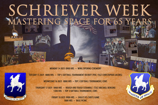 "U.S. Air Force graphic With the theme ""Mastering Space for 65 years…,"" Team Schriever is holding Schriever Week from Monday to July 18 at Schriever Air Force Base, Colo. to honor the installation's history and recognize the people who support the daily mission."
