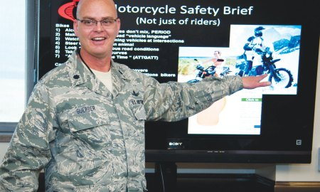 (U.S. Air Force photo by Staff Sgt. J. Aaron Breeden) PETERSON AIR FORCE BASE, Colo. – Lt. Col. Mark Guerber, 16th Space Control Squadron commander and avid motorcyclist, discusses proper personal protective equipment during a motorcycle safety briefing April 2. According to Air Force Safety Center, motorcycle and automobile accidents are the leading cause of death among service members while off-duty, which is why this training is vital to ensuring riders and drivers alike are safe and educated while on the road.
