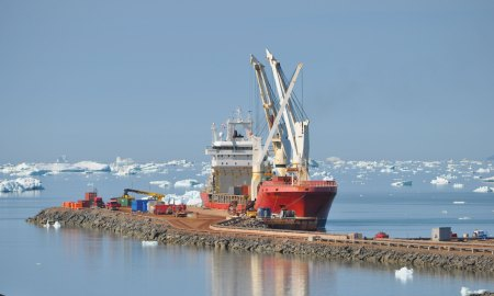 (U.S. Air Force photo by Lt. Col. Stacy M. Clements) THULE AIR BASE, Greenland – The Ocean Giant waits for cargo operations to begin at Thule Air Base on July 18, 2015. The vessel is part of the annual Operation PACER GOOSE mission, which resupplies the U.S. military's northernmost installation.