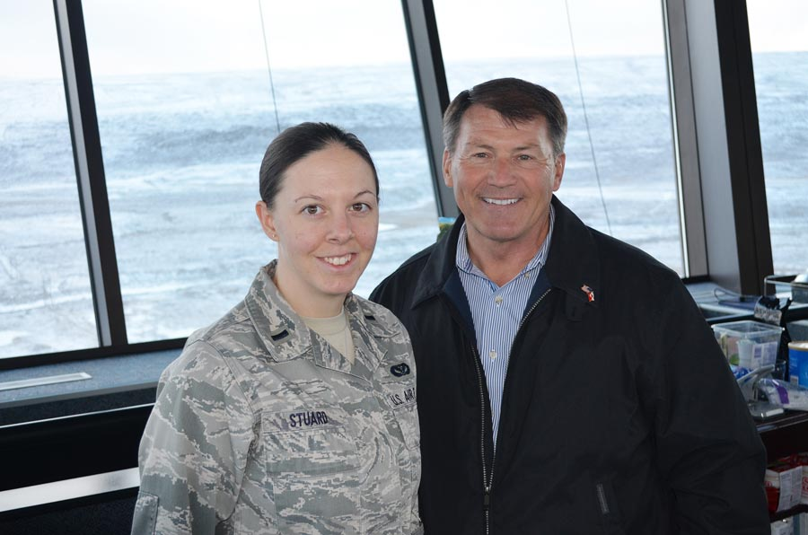 (courtesy photo) THULE AIR BASE, Greenland — First Lt. Kathryn Stuard, 821st Support Squadron civil engineer flight commander and Sen. Mike Rounds, R-S.D., met during a congressional delegation visit to Thule Air Force Base Sept. 27. The former governor and long-time South Dakota political mainstay was impressed with Stuard and called her family to tell them.