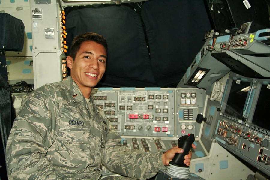 Courtesy photo Then 2nd Lt. Rodrigo Ocampo sits in the commander's seat of the space shuttle Endeavour during one of its stops at Edwards Air Force Base, California. Ocampo, who dreamed of going into space as a child, got the rare opportunity to tour the shuttle before it was retired.