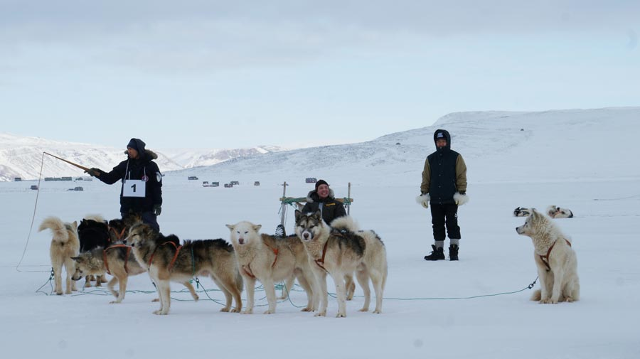 THULE AIR BASE, Greenland — Tech. Sgt. Jeremy Sheehan hunkers down in preparation the Armed Forces Day 10 km dog sledge race. Sheehan was one of only 12 people selected to accompany a hunter on the trip.