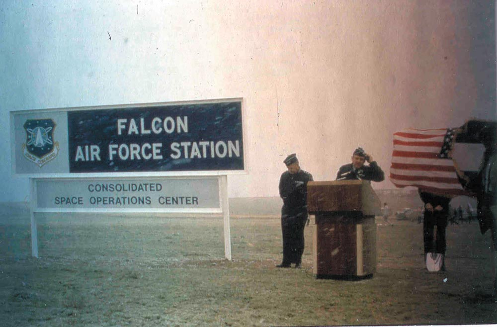 Schriever archives Falcon Air Force Station leadership speak in unfavorable weather conditions in the days when Schriever was named after a nearby town and was small enough to be classified as a station. It wasn't until June 13, 1988, that Falcon AFS was renamed Falcon Air Force Base due to continual growth.