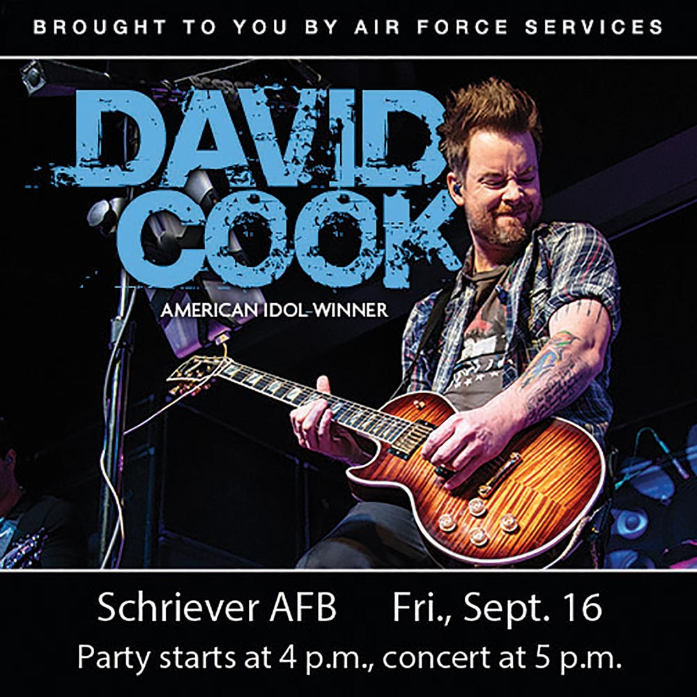 (U.S. Air Force graphic) American Idol winner and rock star David Cook will rock the house during his concert Sept. 16 at Schriever Air Force Base, Colorado. Party begins at 4 p.m. while the concert starts at 5 p.m. Personnel and family members from Front Range installations may attend, as long as they have access to come on base.