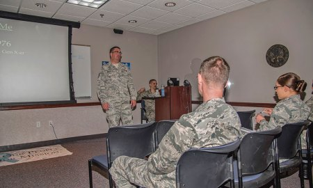 (U.S. Air Force photo by Tiffany Lundberg) PETERSON AIR FORCE BASE, Colo. — Tech. Sgt. Thomas Echelmeyer, 21st Aerospace Medicine Squadron Bioenvironmental Engineering NCO in charge, leads a lunch-n-learn seminar on how to lead the millennial generation, June 14, 2017, at Peterson Air Force Base, Colo. The discussion covered everything from the millennial generation's work ethic, relationships, education and religion. They also talked about what motivates a millennial to better lead them in accomplishing the Air Force mission.