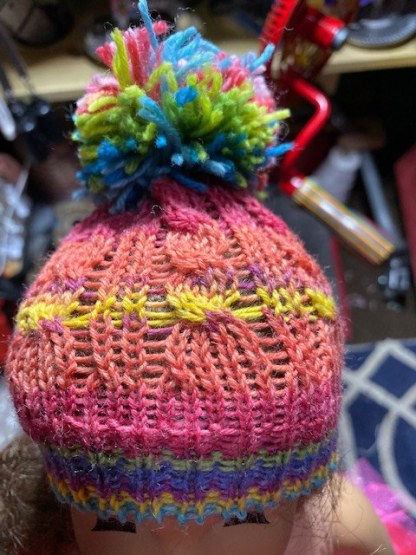 Myra Kness Doll Hat with Cables 1