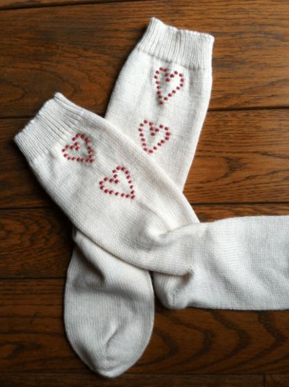 Jenny Deters Beaded Valentine Socks 1