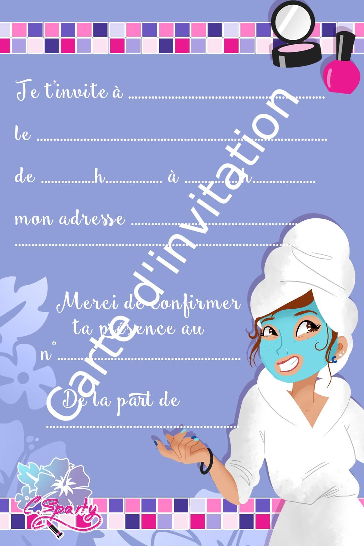 carte d invitation spa party personnalisable pour ados