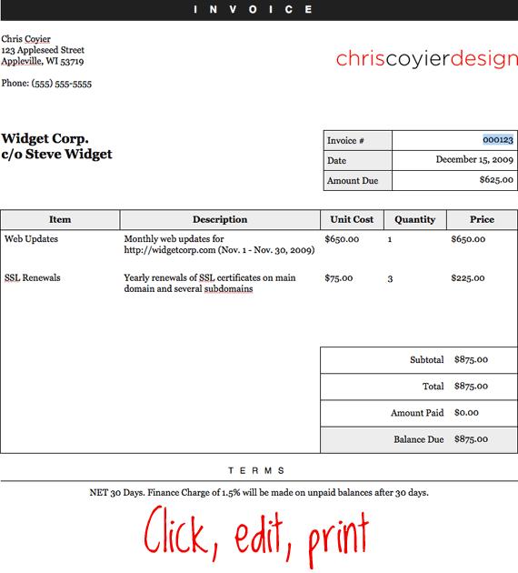 Make An Editable Printable Html Invoice Css Tricks