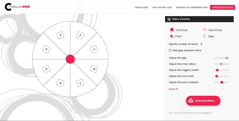 Circulus: the SVG ciruclar menu generator.