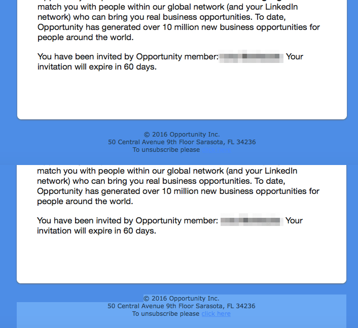 example of blue on blue and unreadable unsubscribe links