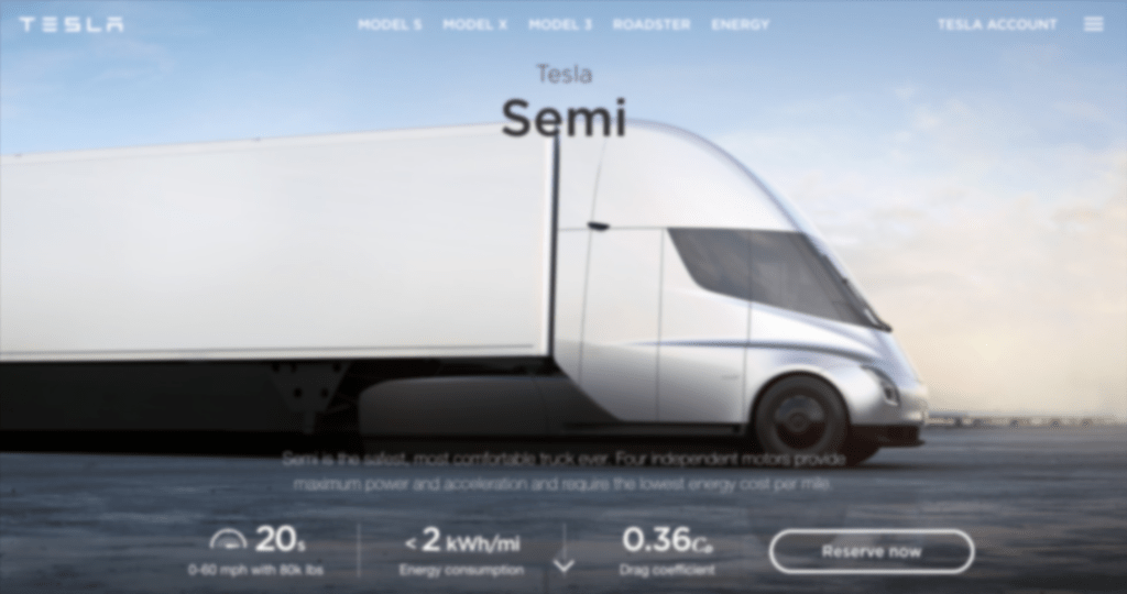 Image of blur simulation on Tesla Semi's homepage