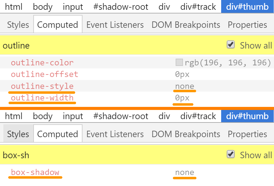 Screenshot. The computed value for outline in Chrome DevTools is none 0px rgb(196, 196, 196), while that for box-shadow is none.